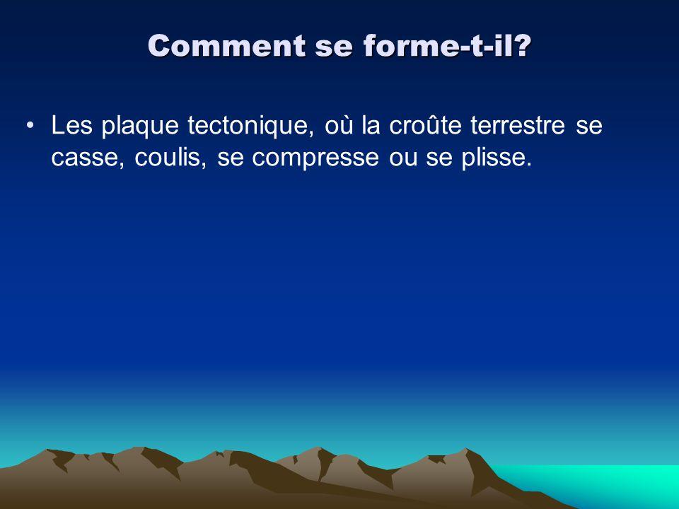 Comment se forme-t-il? Les plaque tectonique, où la croûte terrestre se casse, coulis, se compresse ou se plisse.