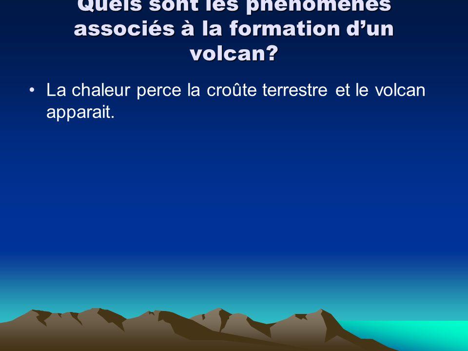 Quels sont les phénomènes associés à la formation dun volcan? La chaleur perce la croûte terrestre et le volcan apparait.