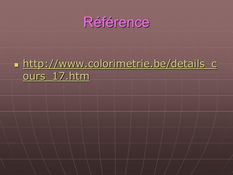 Référence http://www.colorimetrie.be/details_c ours_17.htm http://www.colorimetrie.be/details_c ours_17.htm http://www.colorimetrie.be/details_c ours_17.htm http://www.colorimetrie.be/details_c ours_17.htm
