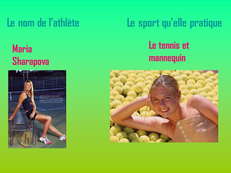 Le nom de lathlète Maria Sharapova Le sport quelle pratique Le tennis et mannequin