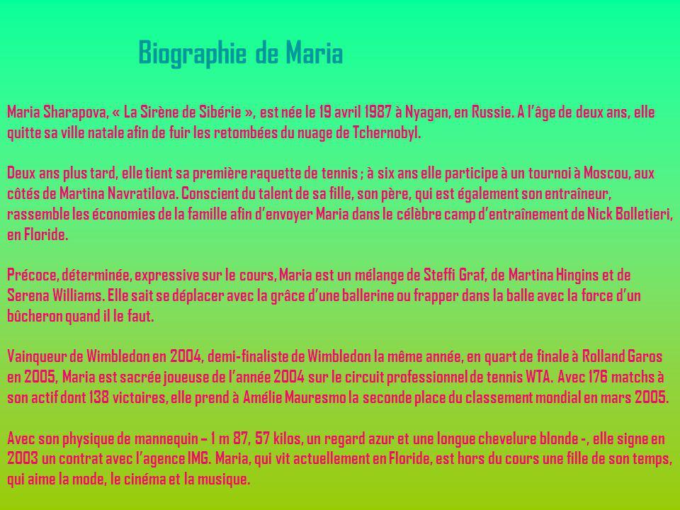 Maria Sharapova, « La Sirène de Sibérie », est née le 19 avril 1987 à Nyagan, en Russie. A lâge de deux ans, elle quitte sa ville natale afin de fuir