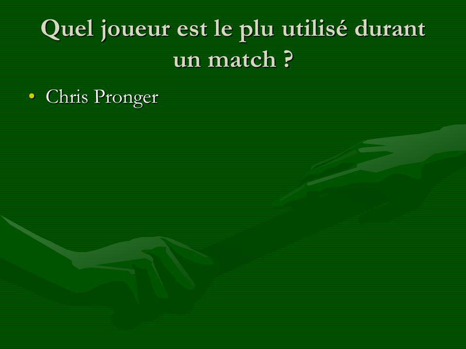 Quel joueur est le plu utilisé durant un match ? Chris ProngerChris Pronger