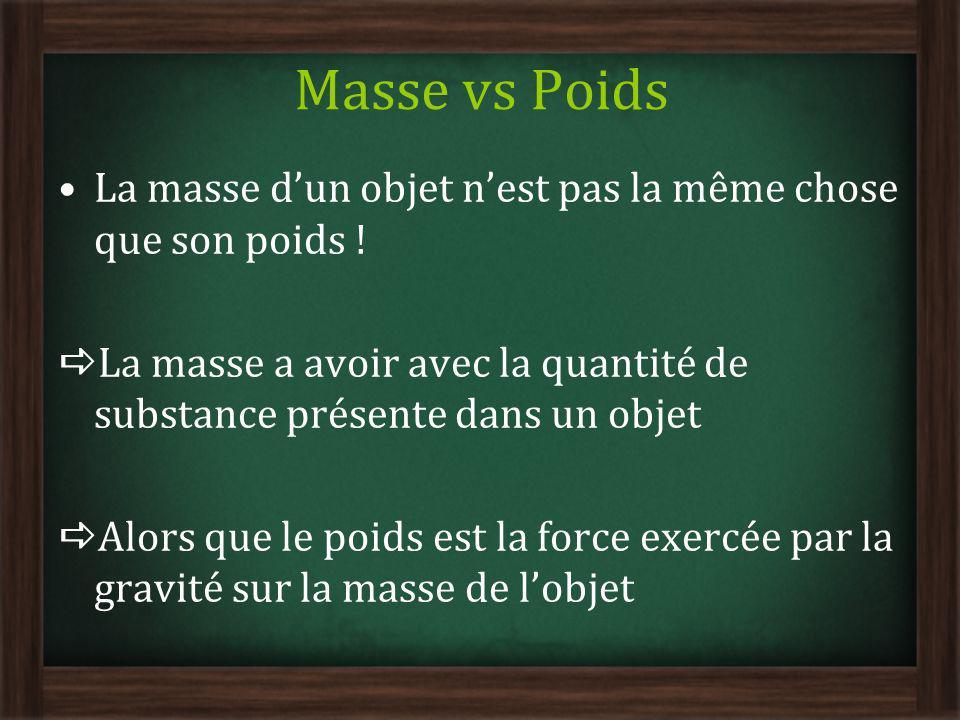 Masse vs Poids La masse dun objet nest pas la même chose que son poids ! La masse a avoir avec la quantité de substance présente dans un objet Alors q