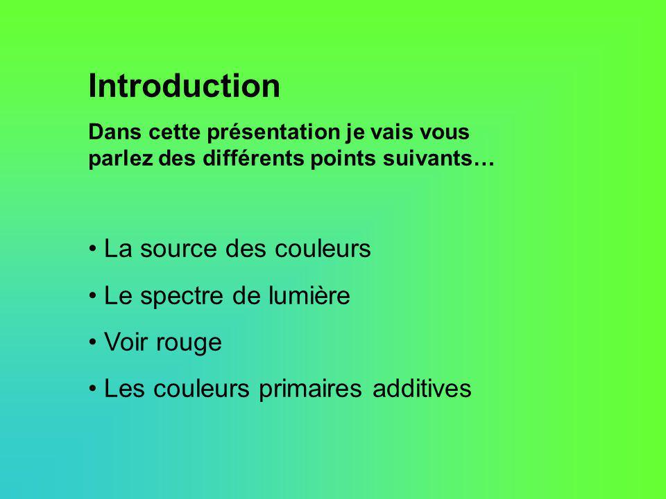 Introduction Dans cette présentation je vais vous parlez des différents points suivants… La source des couleurs Le spectre de lumière Voir rouge Les c