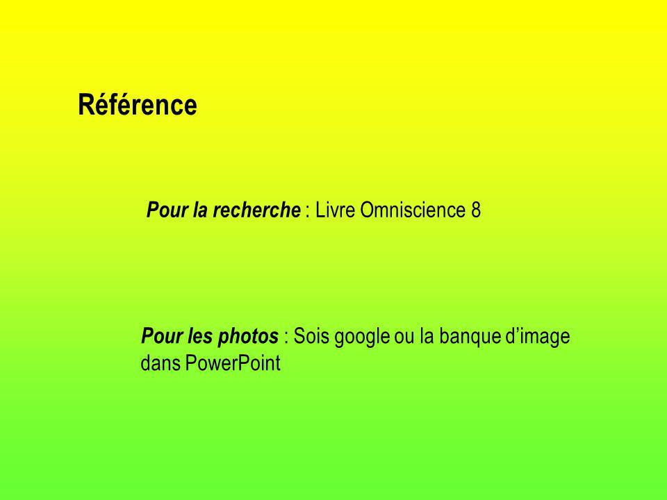 Référence Pour la recherche : Livre Omniscience 8 Pour les photos : Sois google ou la banque dimage dans PowerPoint