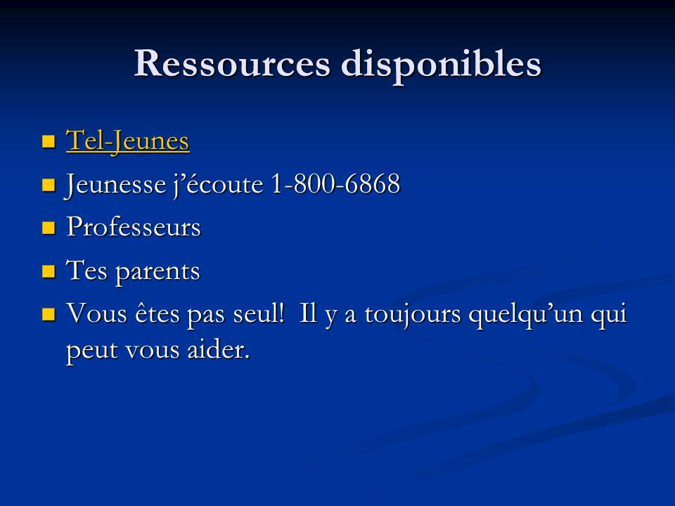 Ressources disponibles Tel-Jeunes Tel-Jeunes Tel-Jeunes Jeunesse jécoute 1-800-6868 Jeunesse jécoute 1-800-6868 Professeurs Professeurs Tes parents Tes parents Vous êtes pas seul.