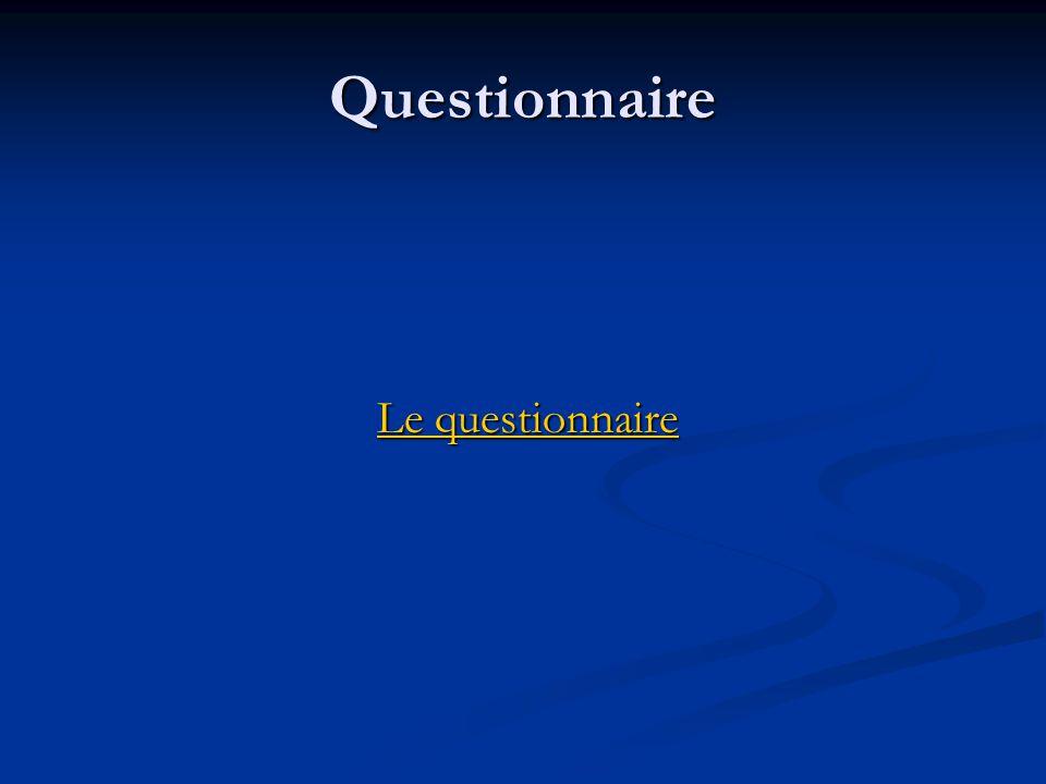 Questionnaire Le questionnaire Le questionnaireLe questionnaireLe questionnaire