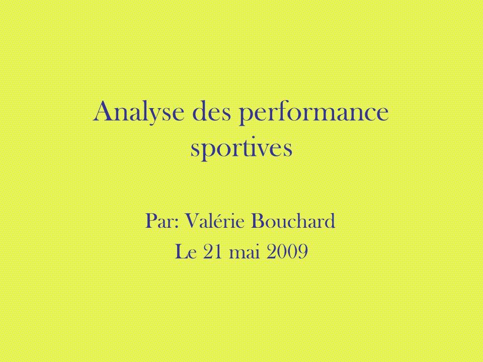 Analyse des performance sportives Par: Valérie Bouchard Le 21 mai 2009