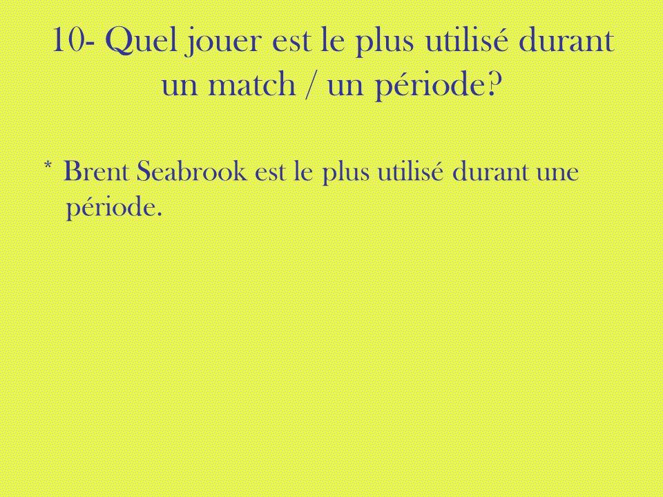 10- Quel jouer est le plus utilisé durant un match / un période? * Brent Seabrook est le plus utilisé durant une période.