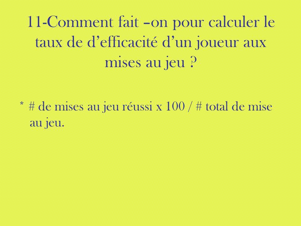11-Comment fait –on pour calculer le taux de defficacité dun joueur aux mises au jeu ? * # de mises au jeu réussi x 100 / # total de mise au jeu.