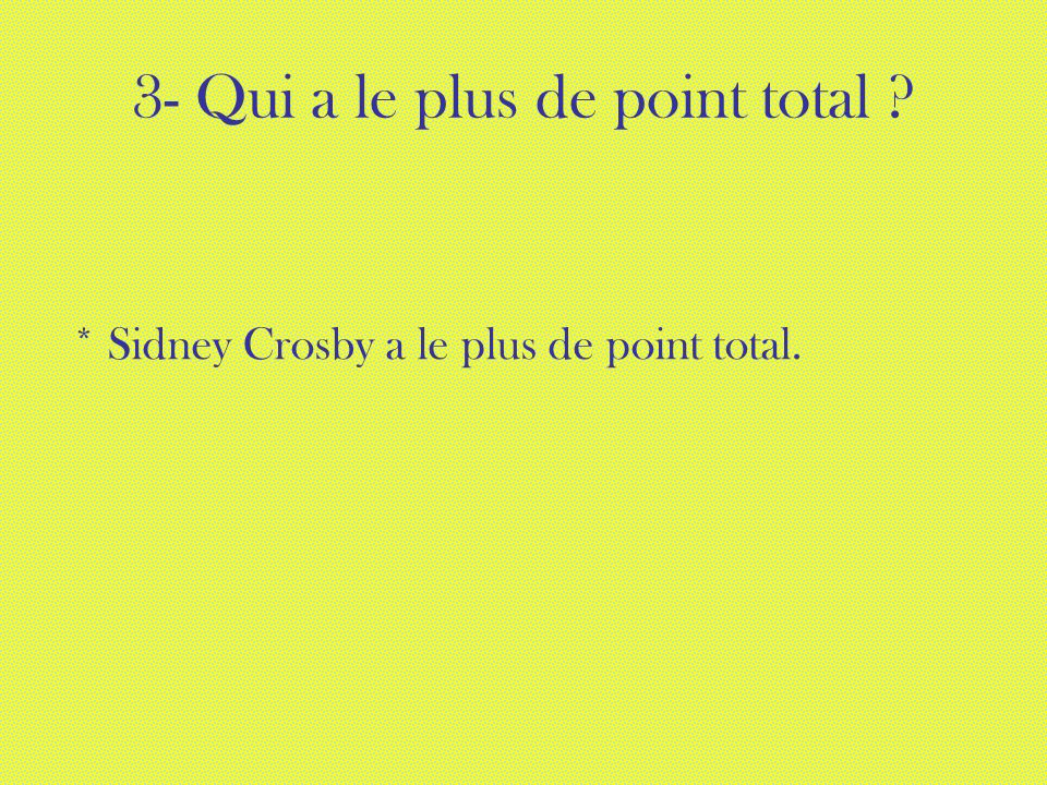 3- Qui a le plus de point total ? * Sidney Crosby a le plus de point total.