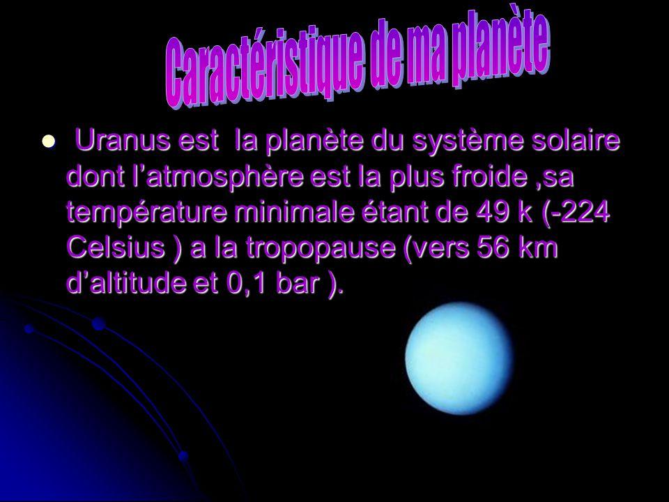 Uranus est la planète du système solaire dont latmosphère est la plus froide,sa température minimale étant de 49 k (-224 Celsius ) a la tropopause (ve