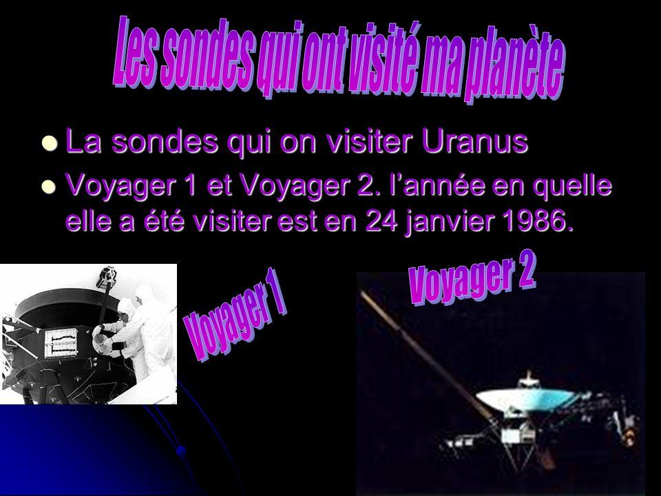 La sondes qui on visiter Uranus La sondes qui on visiter Uranus Voyager 1 et Voyager 2. lannée en quelle elle a été visiter est en 24 janvier 1986. Vo