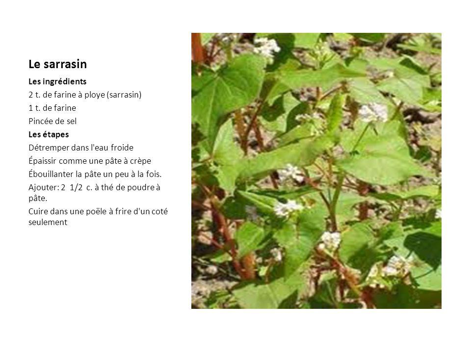 La ploye sarrasin Les ingrédients 2 t.de farine à ploye (sarrasin) 1 t.
