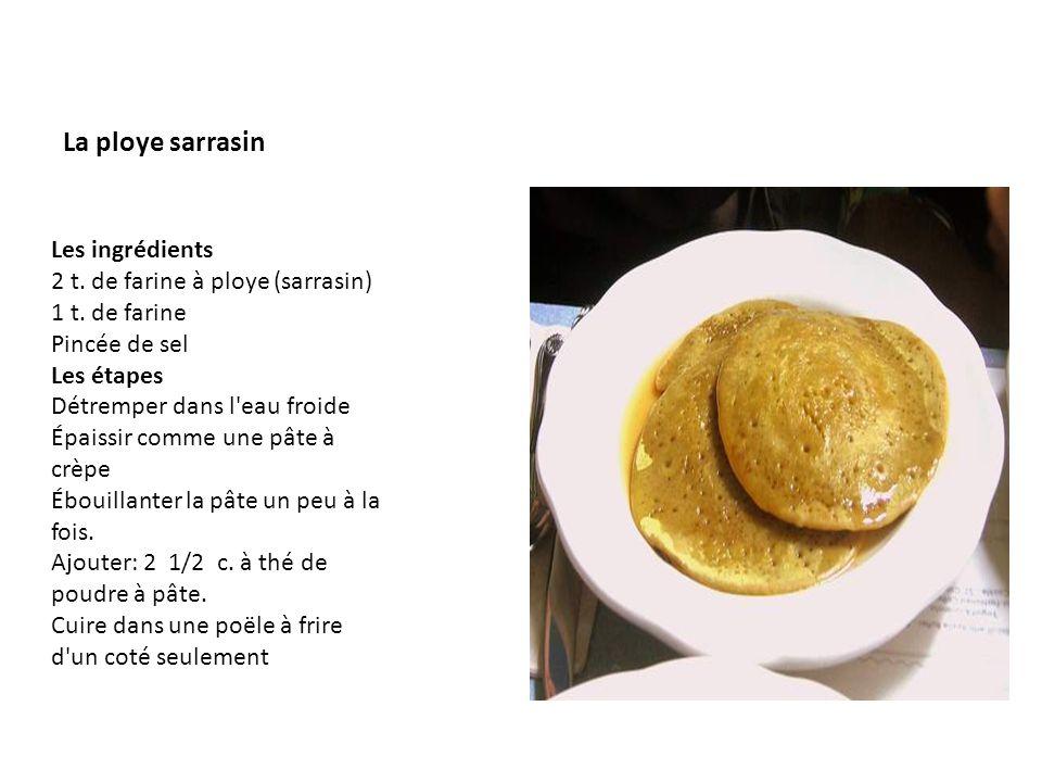 La ploye sarrasin Les ingrédients 2 t. de farine à ploye (sarrasin) 1 t. de farine Pincée de sel Les étapes Détremper dans l'eau froide Épaissir comme