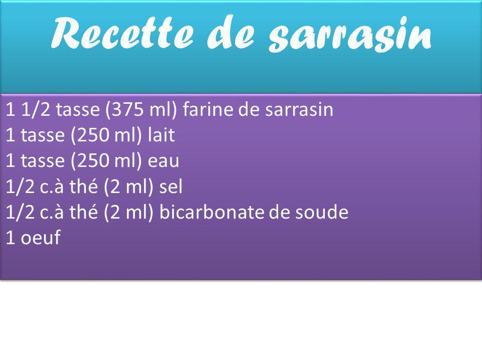 Recette de sarrasin 1 1/2 tasse (375 ml) farine de sarrasin 1 tasse (250 ml) lait 1 tasse (250 ml) eau 1/2 c.à thé (2 ml) sel 1/2 c.à thé (2 ml) bicarbonate de soude 1 oeuf