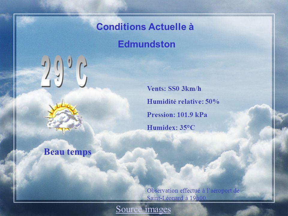 Edmundston, N.-B.Aujourdhui: Passages nuageux. Préc: 20%.