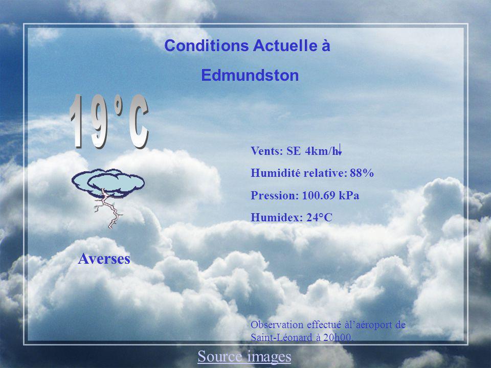 Edmundston, N.-B.Aujourdhui: Nuageux, averses et orages en après-midi et en soirée.