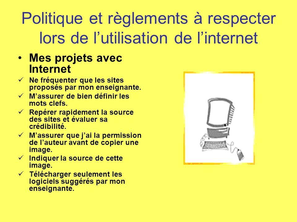 Politiques et règlements à respecter lors de lutilisation des ordinateurs Équipements et lieux Parler dun ton de voix raisonnable.