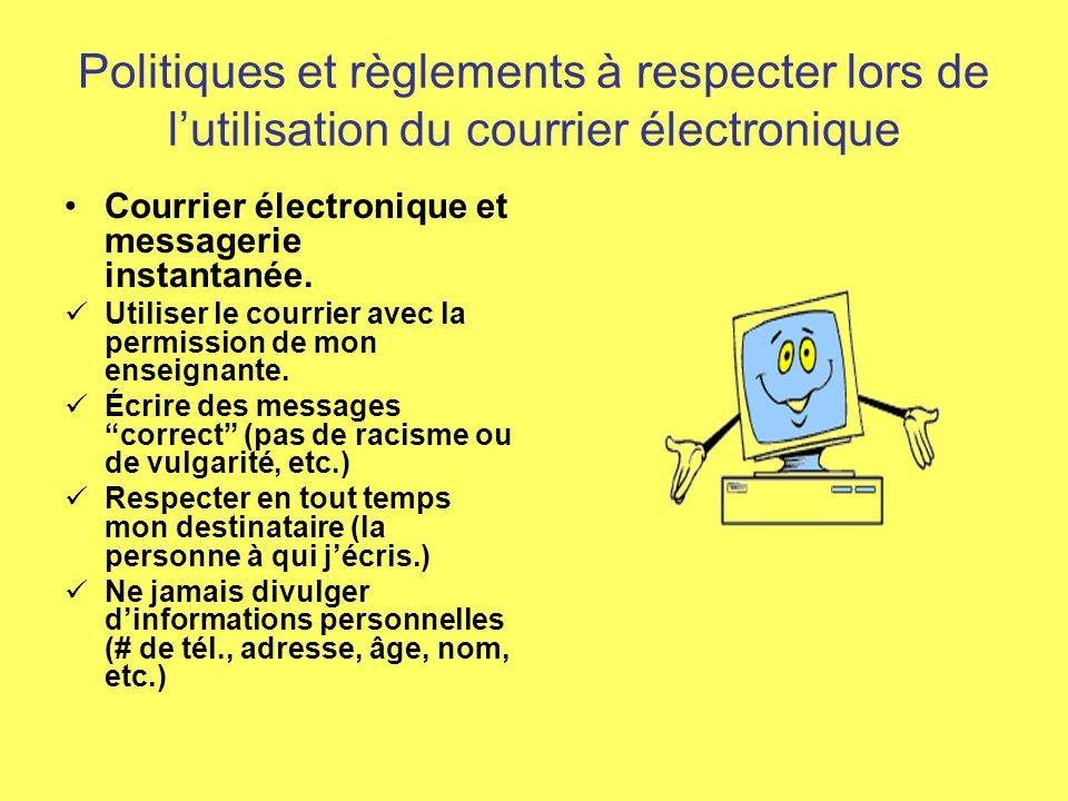 Politique et règlements à respecter lors de lutilisation de linternet Mes projets avec Internet Ne fréquenter que les sites proposés par mon enseignante.