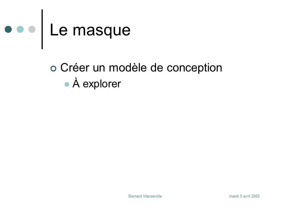 mardi 5 avril 2005Bernard Manzerolle Le masque Créer un modèle de conception À explorer