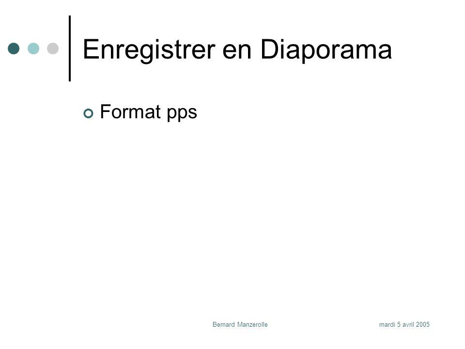 mardi 5 avril 2005Bernard Manzerolle Enregistrer en Diaporama Format pps