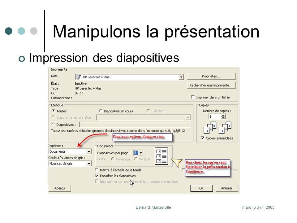 mardi 5 avril 2005Bernard Manzerolle Dernière tâche Déposer cette présentation dans votre CyberCarnet afin de la partager à tous les membres de la classe.