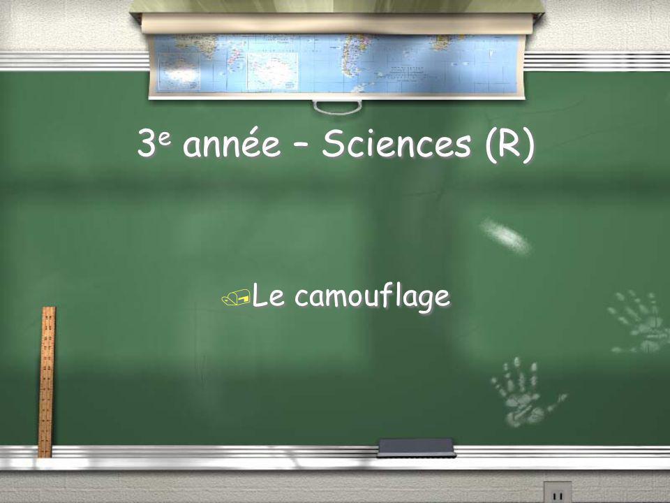 3 e année -Sciences / Quel est le nom utilisé pour désigner laction dun animal qui se cache ou devient invisible dans son environnement?
