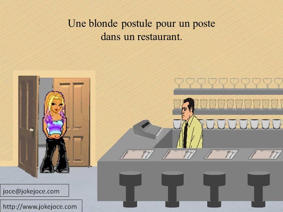 Une blonde postule pour un poste dans un restaurant.