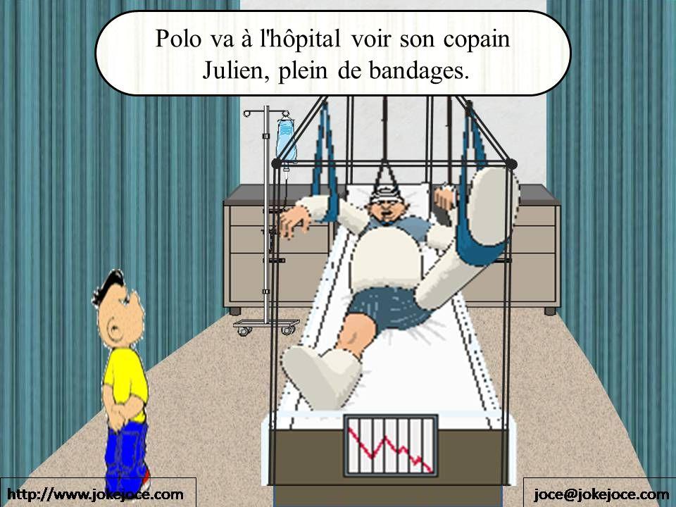 Polo va à l'hôpital voir son copain Julien, plein de bandages.