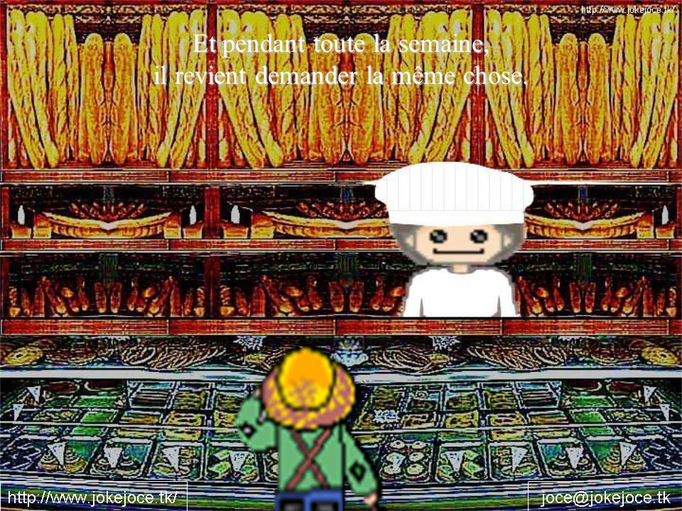 Alors, un soir, la boulangère fait une tarte aux concombres pour le garçon.