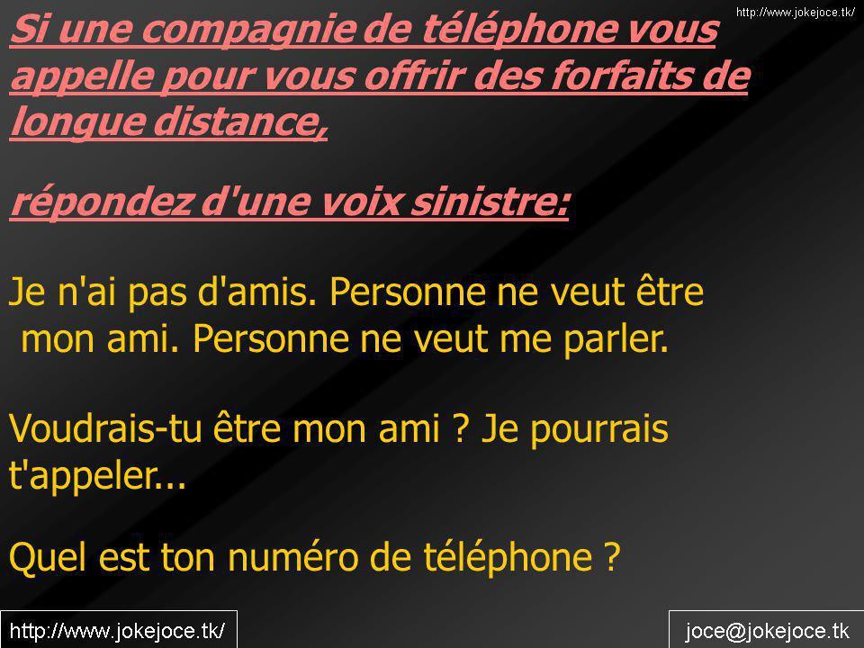 Quel est ton numéro de téléphone ? Si une compagnie de téléphone vous appelle pour vous offrir des forfaits de longue distance, répondez d'une voix si