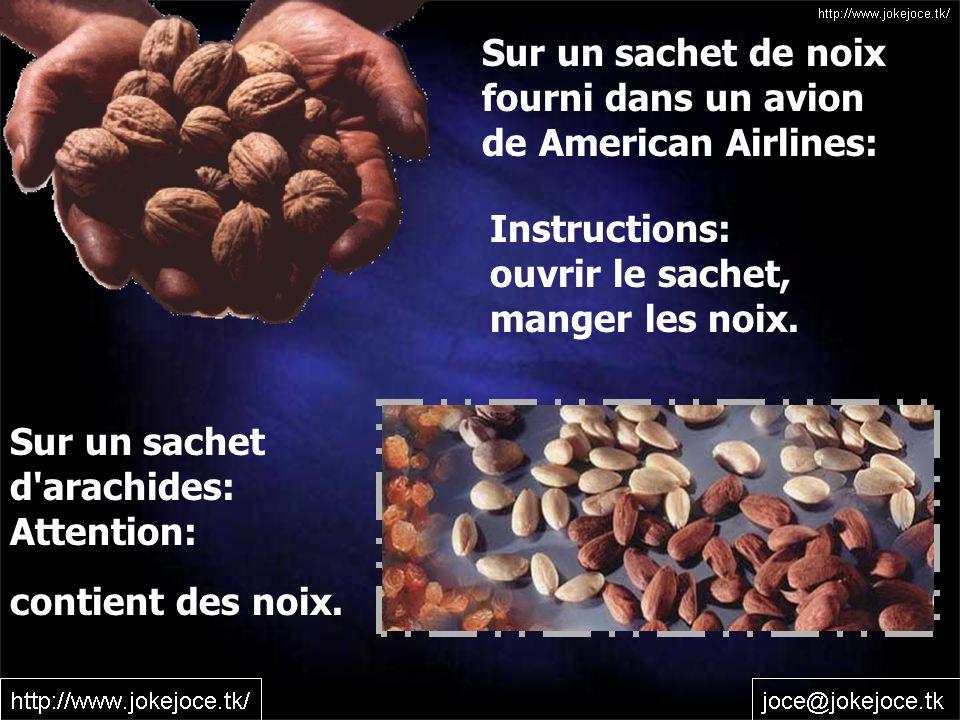 Sur un sachet de noix fourni dans un avion de American Airlines: Instructions: ouvrir le sachet, manger les noix.