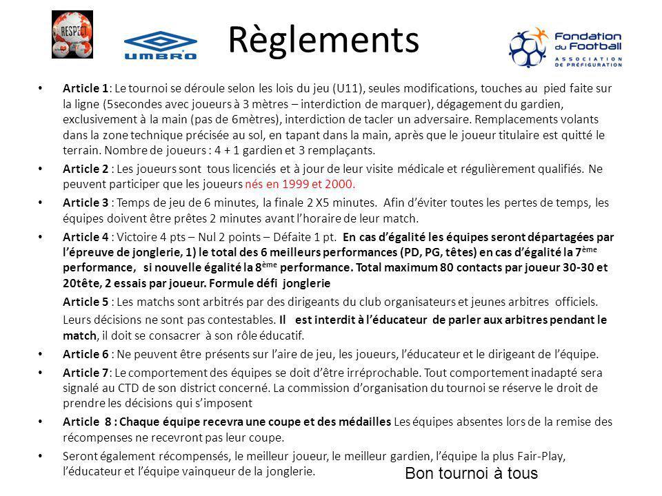 Règlements Article 1: Le tournoi se déroule selon les lois du jeu (U11), seules modifications, touches au pied faite sur la ligne (5secondes avec joue