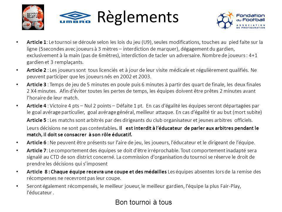 Règlements Article 1: Le tournoi se déroule selon les lois du jeu (U9), seules modifications, touches au pied faite sur la ligne (5secondes avec joueu