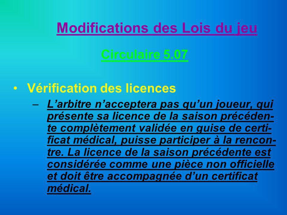 Modifications des Lois du jeu Circulaire 5.07 Vérification des licences –Larbitre nacceptera pas quun joueur, qui présente sa licence de la saison pré
