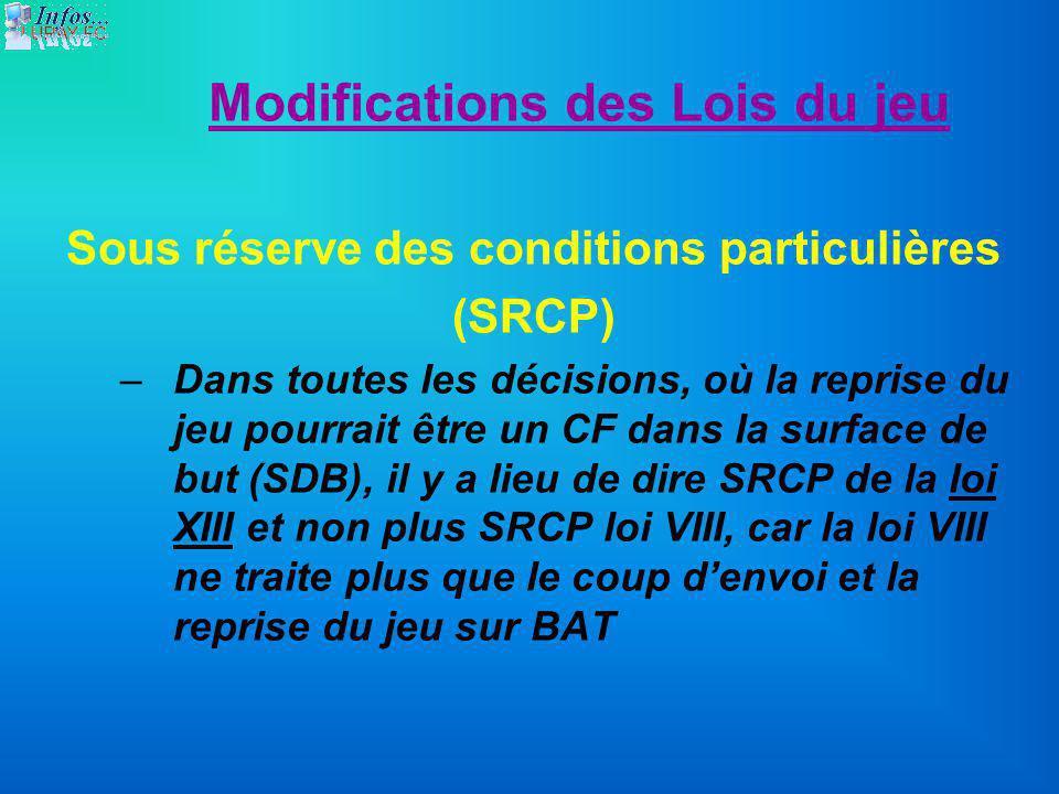 Modifications des Lois du jeu Sous réserve des conditions particulières (SRCP) –Dans toutes les décisions, où la reprise du jeu pourrait être un CF da