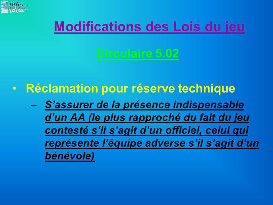 Modifications des Lois du jeu Circulaire 5.02 Réclamation pour réserve technique –Sassurer de la présence indispensable dun AA (le plus rapproché du f