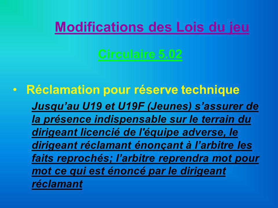 Modifications des Lois du jeu Circulaire 5.02 Réclamation pour réserve technique Jusquau U19 et U19F (Jeunes) sassurer de la présence indispensable su