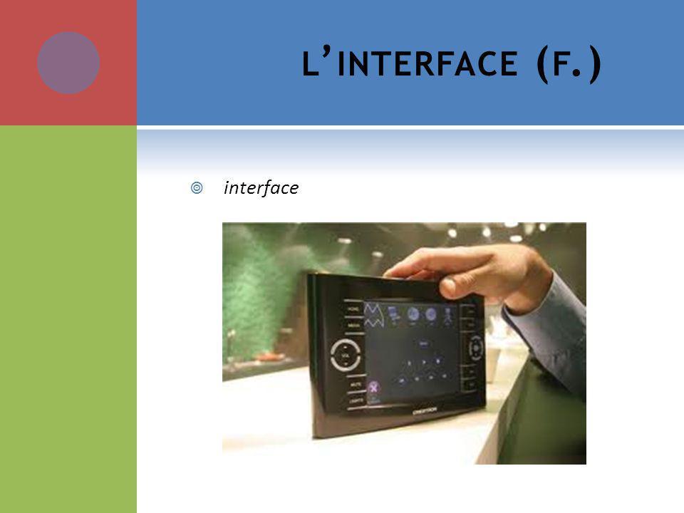 L INTERFACE ( F.) interface