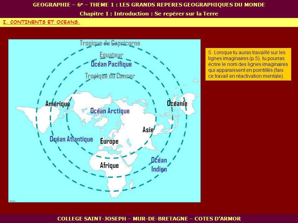 Europe Océan Arctique COLLEGE SAINT-JOSEPH – MUR-DE-BRETAGNE – COTES DARMOR GEOGRAPHIE – 6 e – THEME 1 : LES GRANDS REPERES GEOGRAPHIQUES DU MONDE Chapitre 1 : Introduction : Se repérer sur la Terre I.