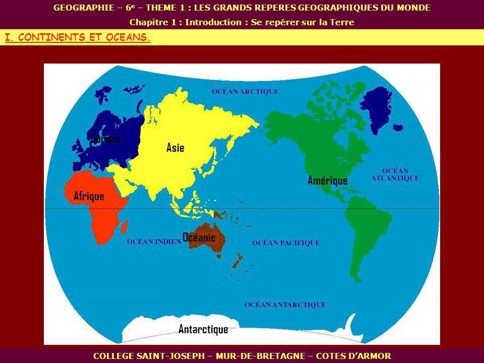 30° N - 30° E 60° N - 30° E 30° N - 120° E 23° N - 90° E 30° S - 30° E 30° N - 90° W 50° N - 0° 23° S - 45° W COLLEGE SAINT-JOSEPH – MUR-DE-BRETAGNE – COTES DARMOR GEOGRAPHIE – 6 e – THEME 1 : LES GRANDS REPERES GEOGRAPHIQUES DU MONDE Chapitre 1 : Introduction : Se repérer sur la Terre II.
