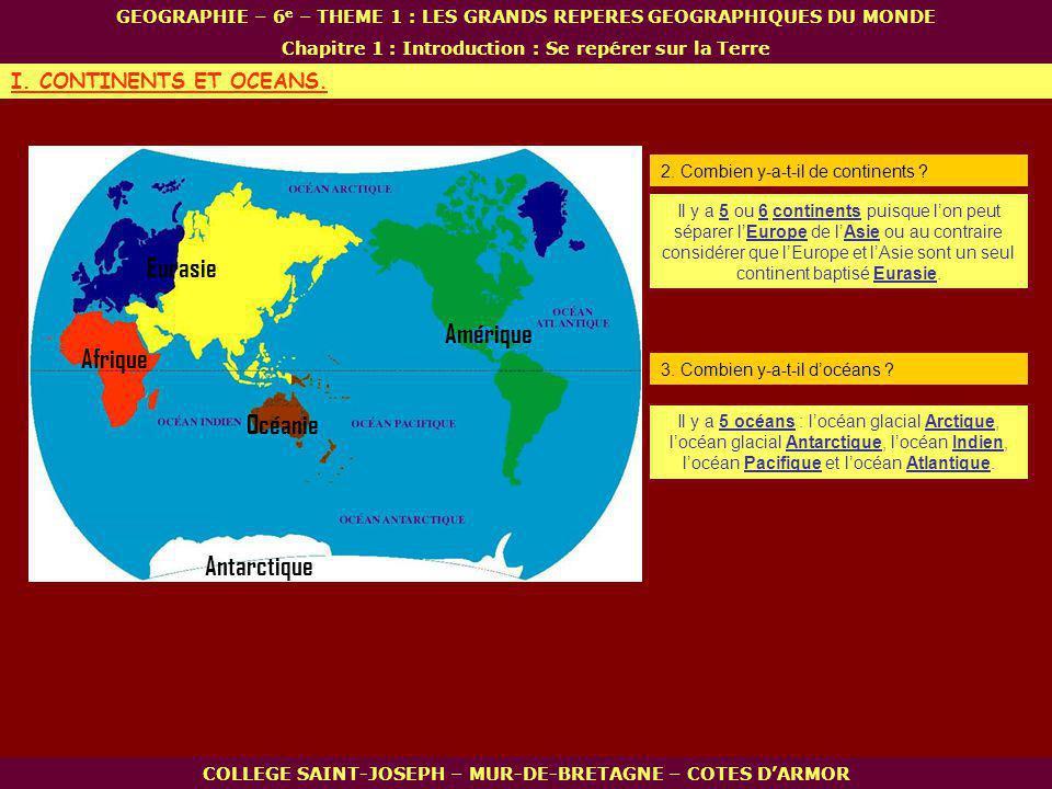 Afrique Océanie Amérique Antarctique Eurasie COLLEGE SAINT-JOSEPH – MUR-DE-BRETAGNE – COTES DARMOR GEOGRAPHIE – 6 e – THEME 1 : LES GRANDS REPERES GEOGRAPHIQUES DU MONDE Chapitre 1 : Introduction : Se repérer sur la Terre I.