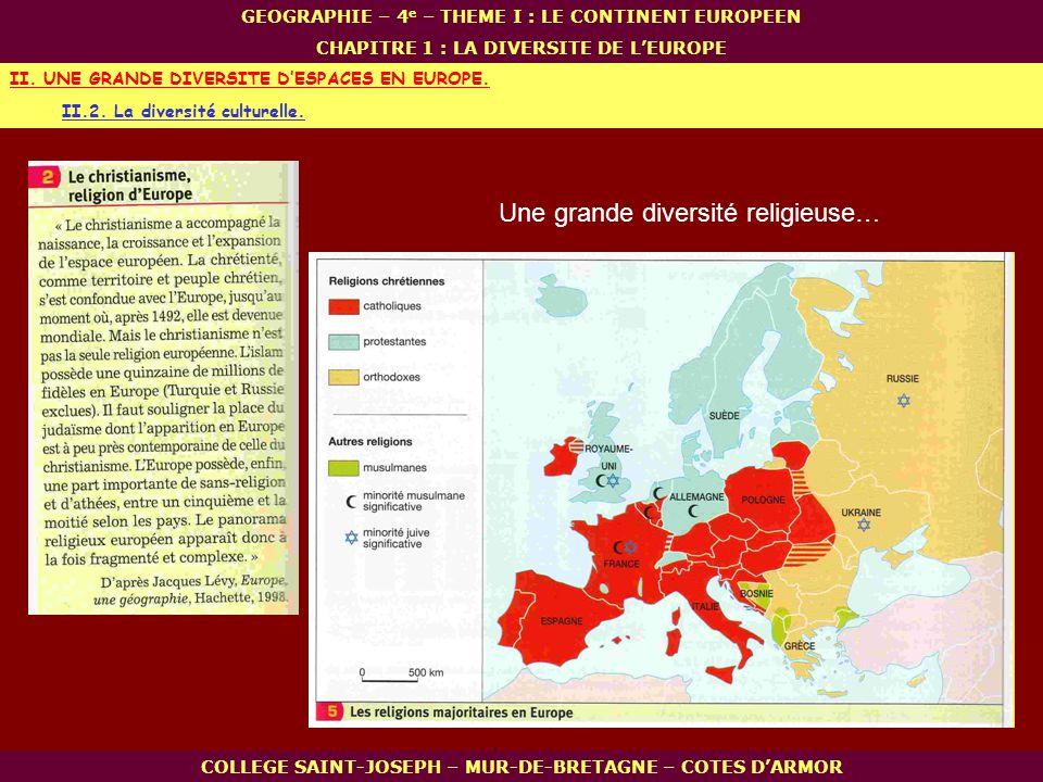 II.2. La diversité culturelle. II. UNE GRANDE DIVERSITE DESPACES EN EUROPE. COLLEGE SAINT-JOSEPH – MUR-DE-BRETAGNE – COTES DARMOR GEOGRAPHIE – 4 e – T