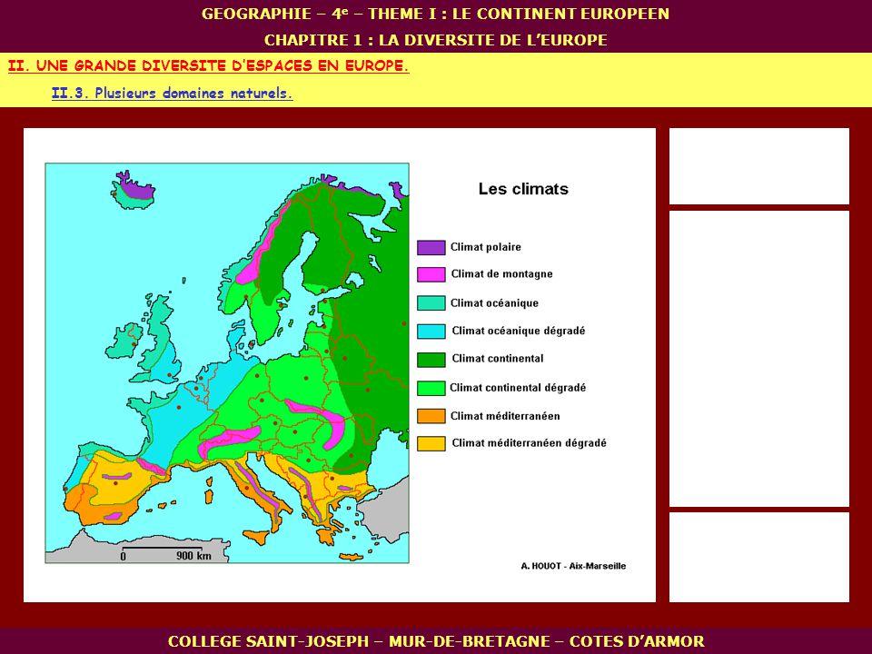 II.3. Plusieurs domaines naturels. II. UNE GRANDE DIVERSITE DESPACES EN EUROPE. COLLEGE SAINT-JOSEPH – MUR-DE-BRETAGNE – COTES DARMOR GEOGRAPHIE – 4 e