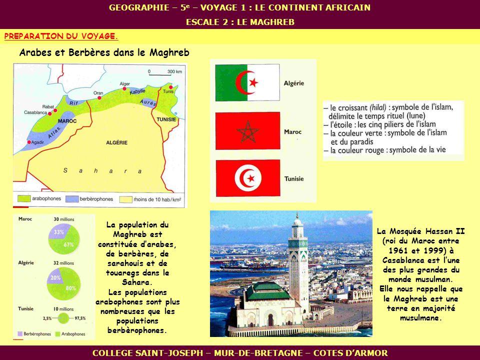 COLLEGE SAINT-JOSEPH – MUR-DE-BRETAGNE – COTES DARMOR PREPARATION DU VOYAGE. La population du Maghreb est constituée darabes, de berbères, de sarahoui