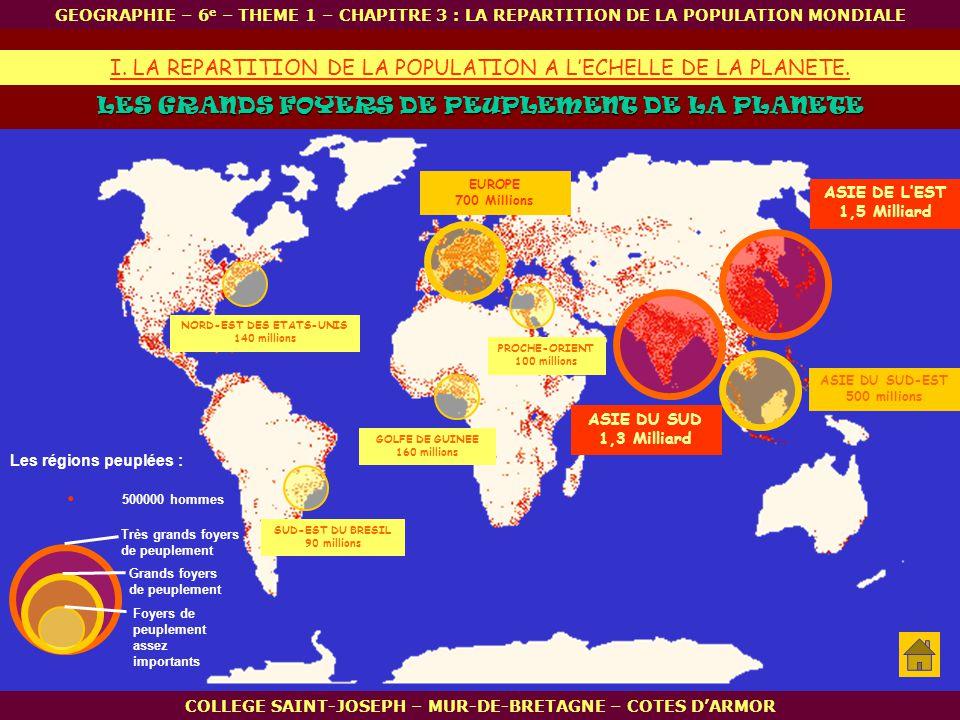 ASIE DE LEST 1,5 Milliard ASIE DU SUD 1,3 Milliard EUROPE 700 Millions Très grands foyers de peuplement LES GRANDS FOYERS DE PEUPLEMENT DE LA PLANETE.