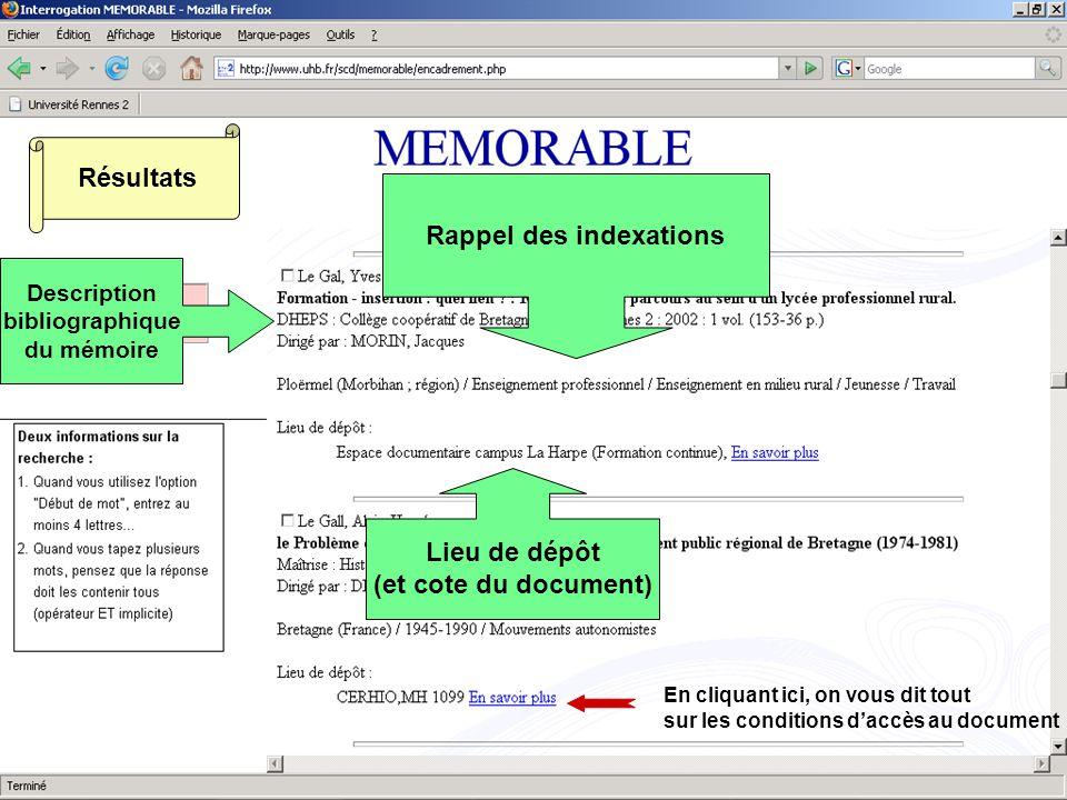 Résultats Description bibliographique du mémoire Rappel des indexations Lieu de dépôt (et cote du document) En cliquant ici, on vous dit tout sur les conditions daccès au document