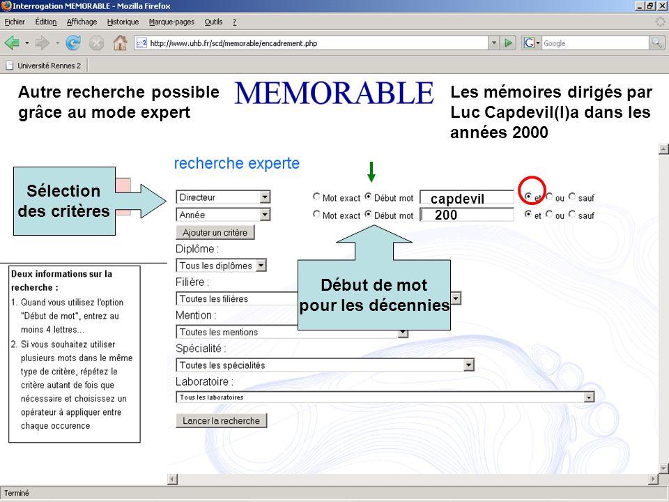 Autre recherche possible grâce au mode expert Les mémoires dirigés par Luc Capdevil(l)a dans les années 2000 Sélection des critères capdevil Début de mot pour les décennies 200
