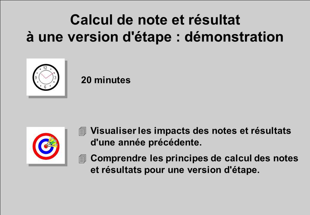 Calcul de note et résultat à une version d étape : démonstration 12 6 3 9 20 minutes 4Visualiser les impacts des notes et résultats d une année précédente.